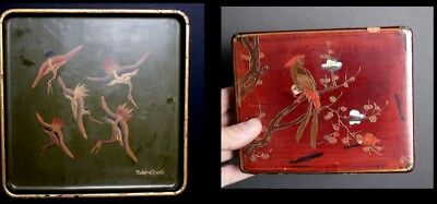 Antique Vintage Japanese Lacquer Tray Cranes and Lidded Box