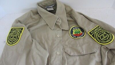 Long Sleeve Tan Florida Fire Fighters Forestry Shirt with Patches Size Large