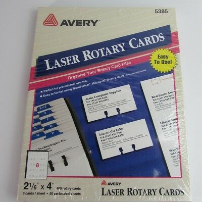"""Avery Laser Rotary Cards 2 1/6"""" x 4"""" Model 5385 Box of 400 Cards"""