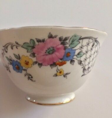 Gold Rim Floral Tuscan Tea Bowl Fine English Bone China Made in England