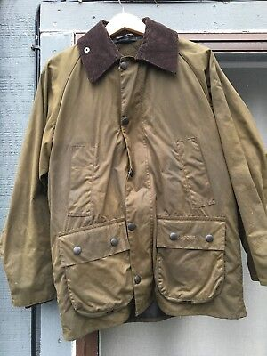Barbour Bedale Waxed Jacket Size 36 Olive With Fleece Liner Traditional Sylkoil