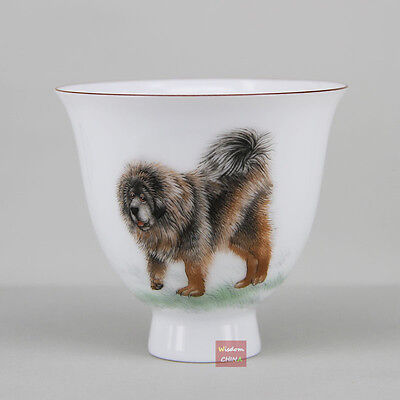 Hand painted dog Chinese Jingdezhen Famille-rose porcelain tea cup 110cc