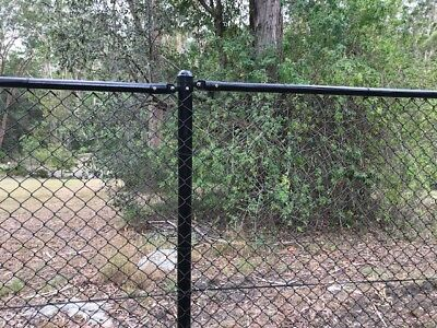 Black PVC Coated Chain Link Wire Mesh Fence Post 48mm /60mm x 2.4m height