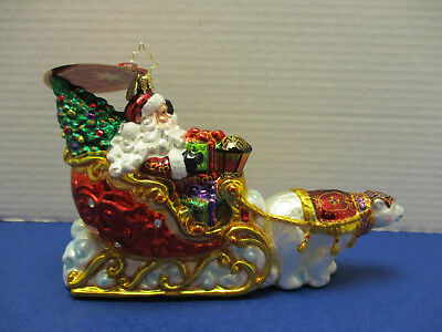Christopher Radko Glass Ornament Polar Bear Run w/ Santa in Sleigh
