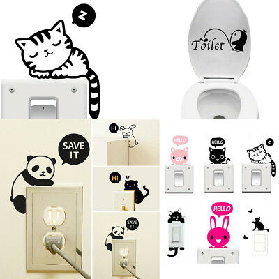 Wall Stickers Animals Cat Light Switch Decor Decals Art Mural Baby Nursery Room