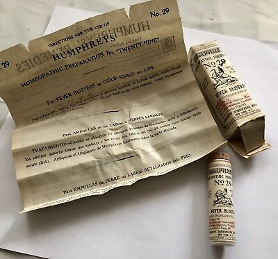"1940's Humphrey's Homeopathic Med.# 29""FEVER BLISTERS ""Mint In Box Full Contents"