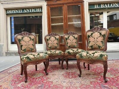 Group Of 4 Splendid Ancient Chairs Nut Solid Wood Fabric Damascus Period 1860