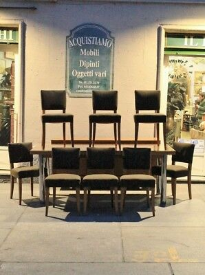 Table Oak Table With Group Of 8 Chairs, 50's '60 / Table Chairs / Table