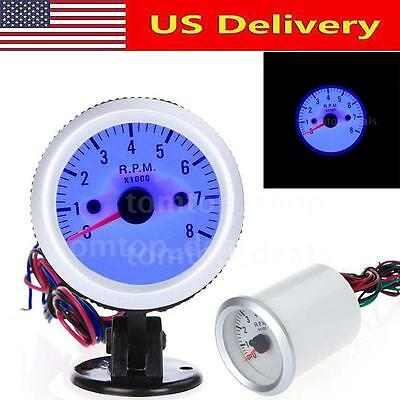 "Hot 2"" 52mm Car Auto LED Blue Pointer Tach Tachometer Gauge Holder Cup 0-8000RPM"