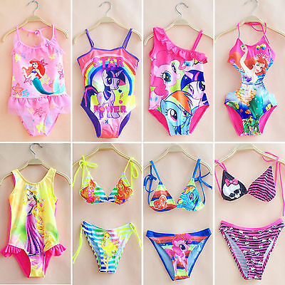 Girls Kids One-Piece Bikini Swimsuit Swimwear Bathing Suit Swimmers Monokini AU