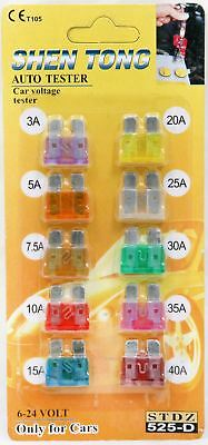 10Pcs Standard Blade Fuse For Car Vehicle Assorted Kit Set Tool 3A To 40A Models