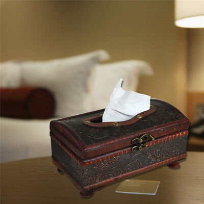 Retro Wooden Tissue Box Paper Cover Case Napkin Holder Home Hotel Office Decor