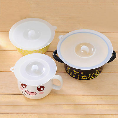 Silicone Leakproof Coffee Mug Suction Lid Cap Airtight Seal Cup Cover 3Size