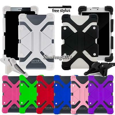 """Soft Silicone Shockproof Stand Cover Case For Various 7"""" 8"""" Bq Tablet + Stylus"""