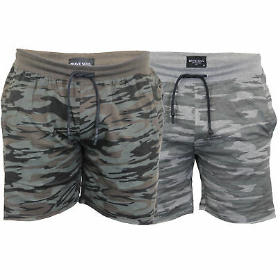 d71307b42a Mens Camo Jersey Shorts Brave Soul Crews Army Military Print Unfinished Hem  New