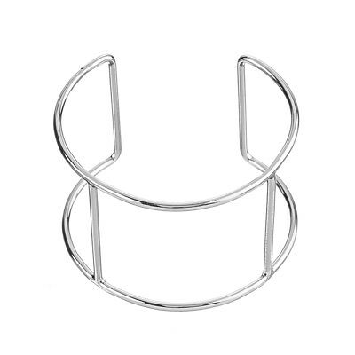 Rhodium Plated Wire Cuff Bangle Base With 2 Posts 65mm Pack of 1 (K35)