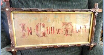 antique PAPER PUNCH SAMPLER~IN GOD WE TRUST~porcelain wood Adirondack folk art