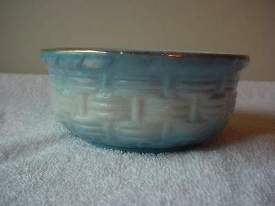 NICE RARE Blue and White Basketweave and Morning Glory Stoneware SOAP DISH BOWL