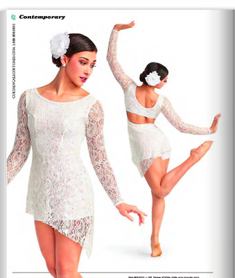 """""""Shades Of White"""" Lyrical Contemporary Dance Dress Curtain Call Costume Child M"""