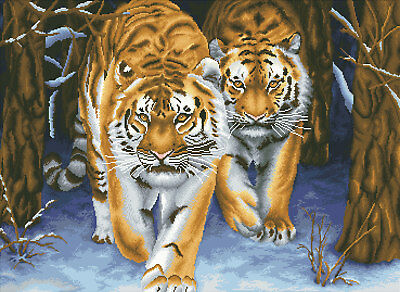 Stalking Tigers No-Count Cross Stitch Kit Printed Background FREE 1ST CLASS POST