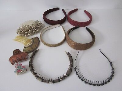 Vtg Lot of Hair Accessories 10 Pcs 6 Headbands Beaded Comb Clip From France ++