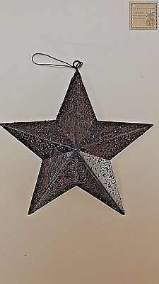 New with hanger BLACK TEXTURED BARN STARS Metal Tin  Primitive Country