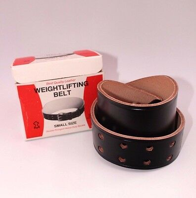 Weight lifting belt BNIB VTG NOS Thick leather Heavy duty buckle Sport Prop B6