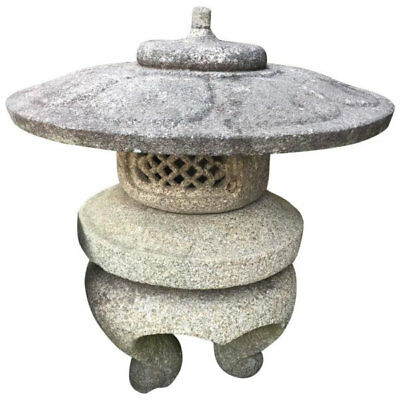 Japanese fine Antique 19thc hand carved lotus temple lantern, granite
