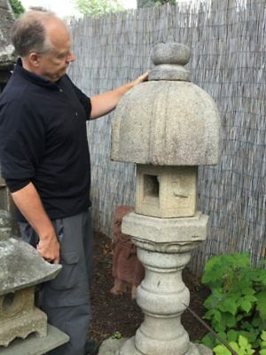 "Japanese fine hand carved ""Heron"" lantern, solid granite"