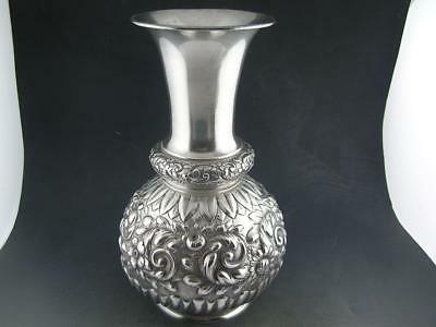 """Rare Sterling GORHAM 7"""" Vase AESTHETIC repousse floral & scroll ornate c1890"""