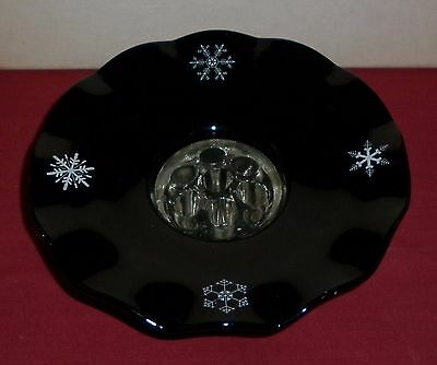 Davidson Depression Glass Snowflake Flower Bowl With Frog Clock Great Condition