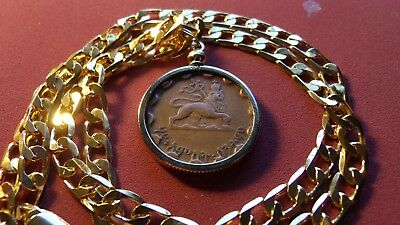"Haile Sellasie ""Lion of Judah"" Coin Pendant w/24"" 18k Gold Filled Mariner Chain"
