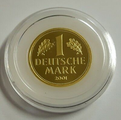 "DEUTSCHLAND: 1 DEUTSCHE MARK 2001 ""F"", ORIGINAL IN GOLD, (Alb03L12), STGL.!"