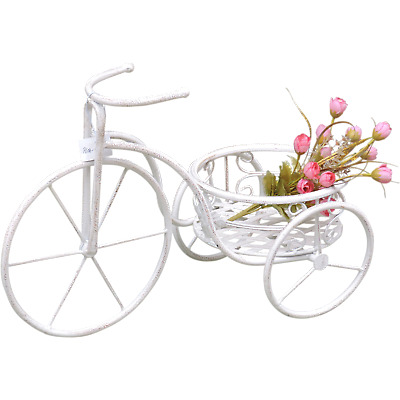 deko fahrrad blumen garten shabby landhaus metall wei. Black Bedroom Furniture Sets. Home Design Ideas