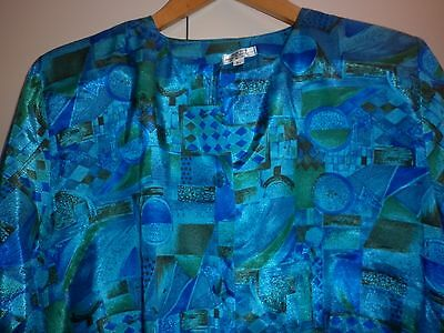 1980s VINTAGE WOMENS BRIGHT SILK BLOUSE LARGE EXCELLENT CONDITION