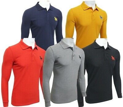 Mens Long Sleeve Polo Shirt New Custom Fit Casual Top Size S-M-L-XL-XXL