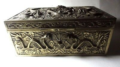 Antique Asian Chinese Brass Bronze Box Casket Nine Dragon High Relief 6 Pounds