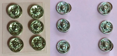 12 x Silver Sew-on Press Studs (snaps / fasteners) 2 sizes