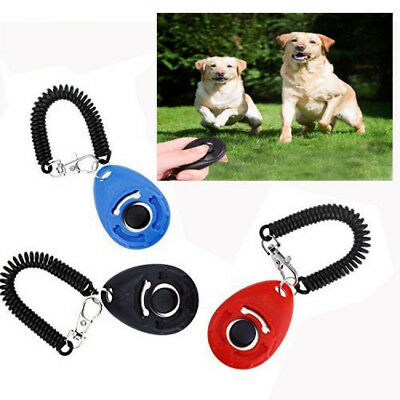 Pet Dog Cat Professional Training Clicker Big Button Wrist Band Strip