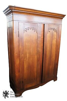 Early American Antique Solid Walnut Knockdown Armoire Primitive Wardrobe Closet