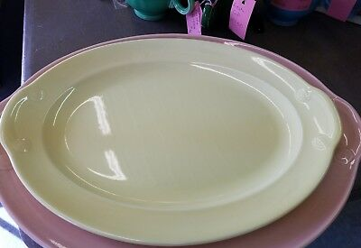 Vintage TS&T LuRay Pastels USA  Yellow 12 Inch Oval Serving Platter