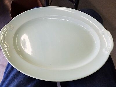 "Vintage TS&T LuRay Pastels USA  Green 13"" Oval Serving Platter"