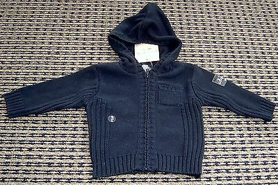 Grain De Ble French Designer Baby Boys Hooded Cardigan Sz 3 Months New With Tags