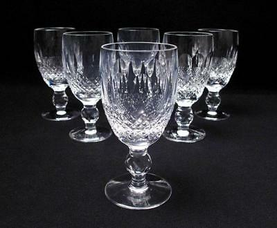 6x VINT WATERFORD IRELAND CUT CRYSTAL COLLEEN 3oz PORT / LIQUEUR GLASSES SIGNED