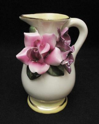 Signed Darbyshire Australian Pottery Miniature Jug / Vase With Applied Flowers