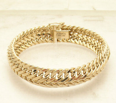 "8"" Domed Double Row Cuban Curb Bracelet Box Clasp Lock Real 14K Yellow Gold"