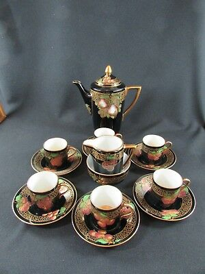 15 Piece Hand Painted Soho Pottery Solian Ware Coffee Set c.1930s