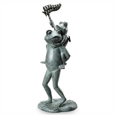 Frog Butterfly Chasers Garden Sculpture Metal Statue Frogs Catching Butterflies