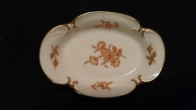 Jimenau Graf Von Henneburg Porcelain Dish With Red Golden Flowers And Golden Rim