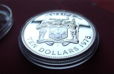 RARE PROOF 1975 JAMAICA SILVER ROUND TEN DOLLAR COIN 42g w/Rare 45mm Holder.